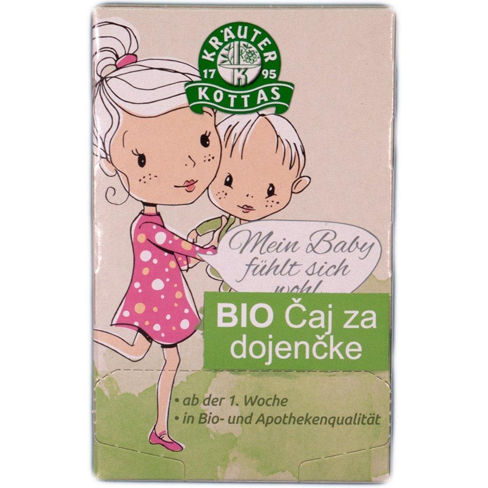 Čaj za dojenčke vsebuje kamilico, meto in komarček, ki ugodno vplivajo na dojenčkovo prebavo, blažijo krče in napenjanje.
