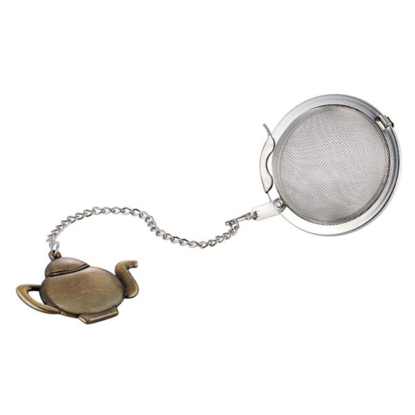 Cedilo za čaj s prikupnim motivom bronastega čajnika.
