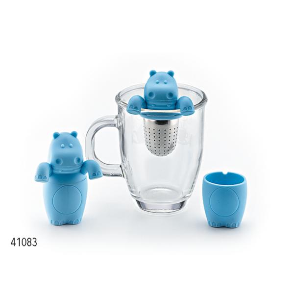 Cedilo za čaj iz silikona s prikupnim motivom modrega nilskega konja.
